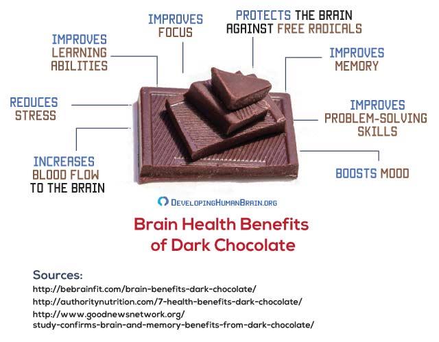 dark chocolate for brain health infographic