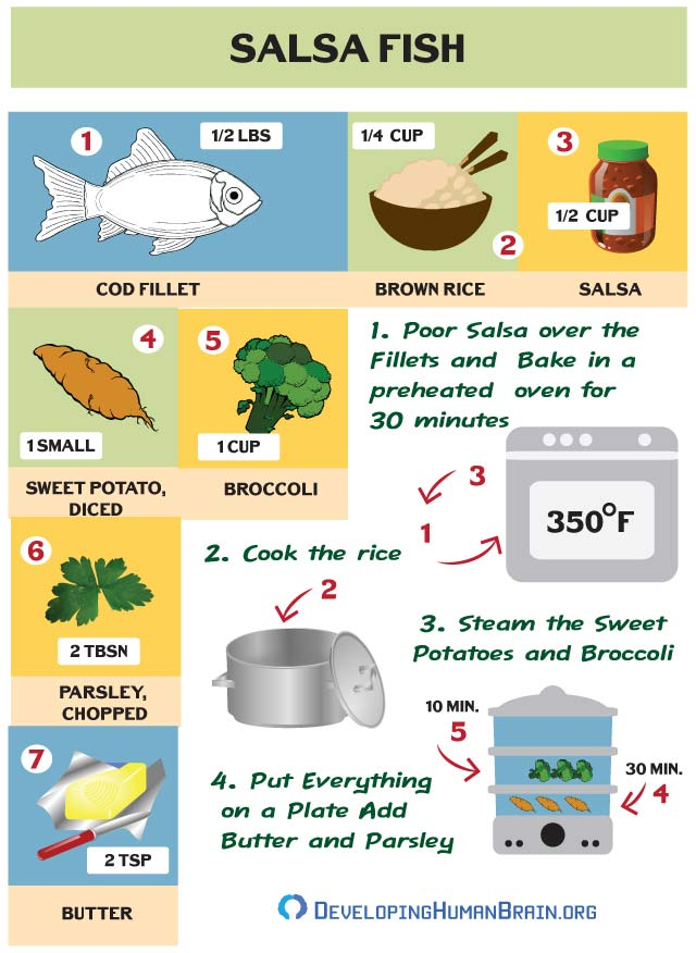 salsa fish recipe for brains infographic